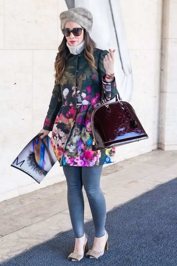 flower coat | 11 best streetstyle looks by women over 40 featuring prints | 40PlusStyle.com