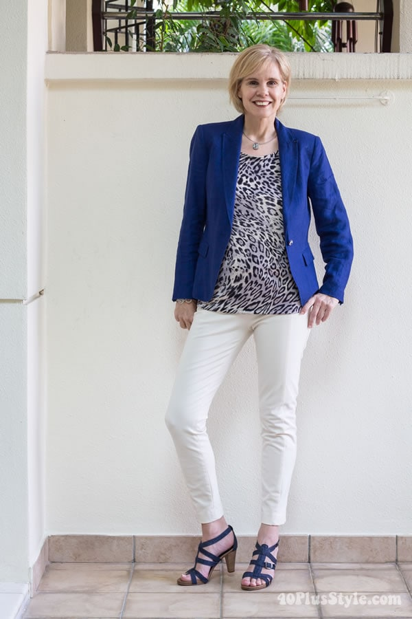 Wearing 2 Covered Perfectly tops 5 different ways: Outfit #3 animal print top with blue blazer  | 40PlusStyle.com