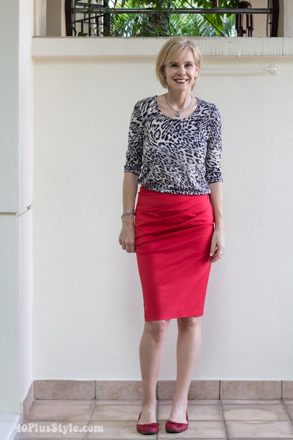 Wearing 2 Covered Perfectly tops 5 different ways: outfit #5 animal print top with red skirt | 40PlusStyle.com