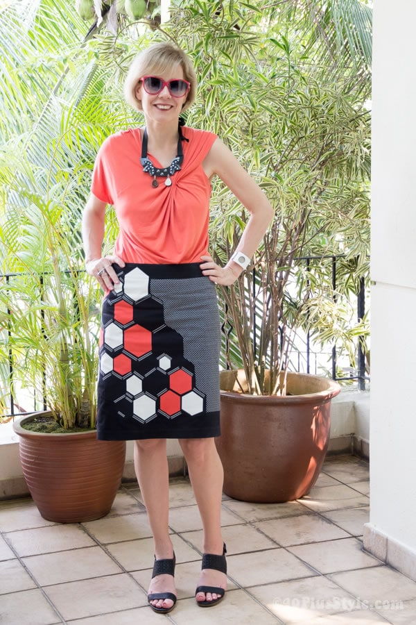 wearing a printed skirt with more color | 40plusstyle.com