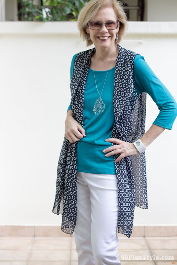 Wearing the Covered Perfectly Simple Comfort top with the new Cascading Vest | 40plusstyle.com