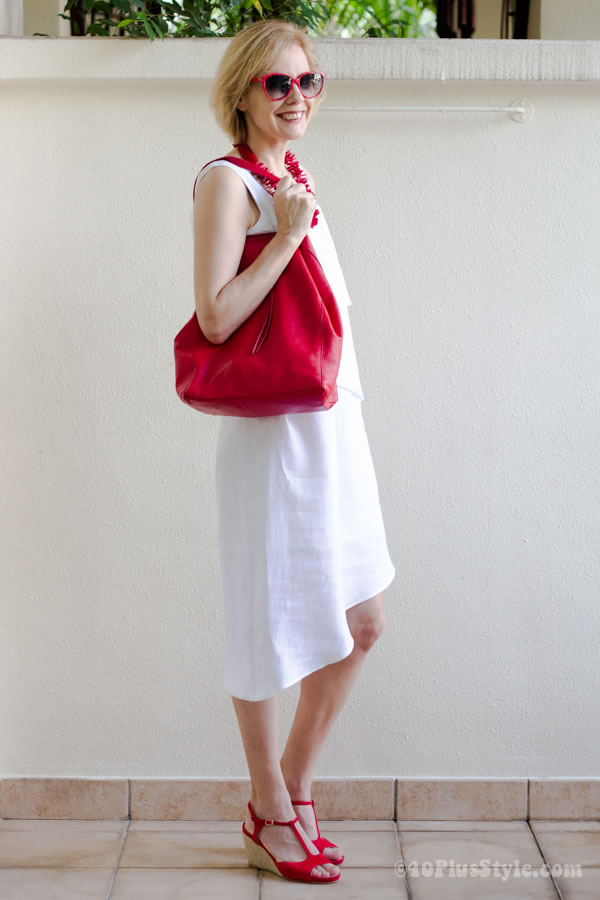 White dress with red accessories | 40plusstyle.com