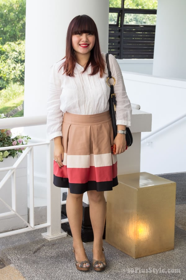 chic in skirt and blouse | 40plusstyle.com