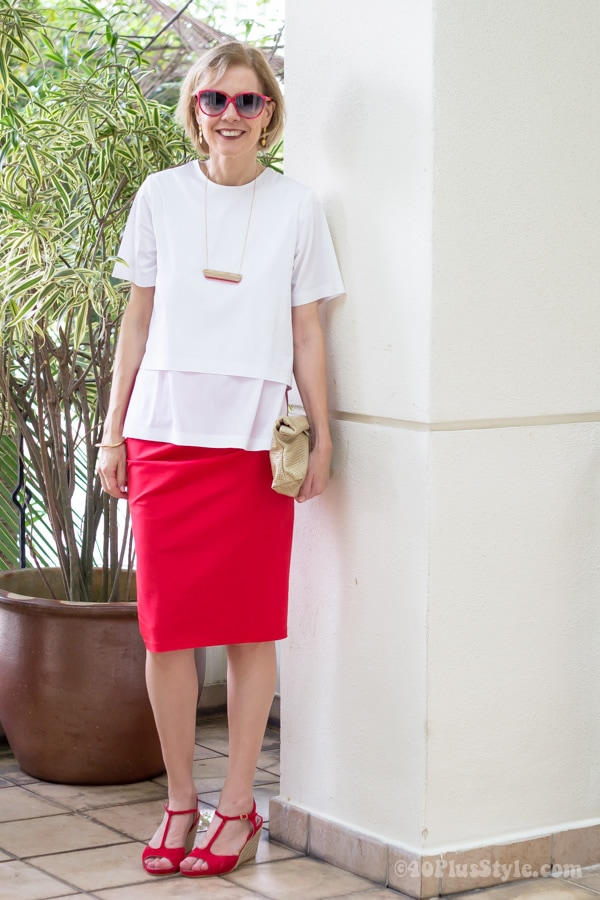 How to wear red | combine with white! | 40plusstyle.com