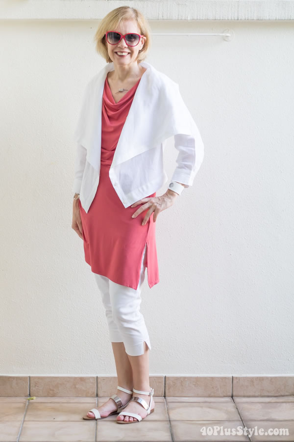 layering with coral and white | 40plusstyle.com