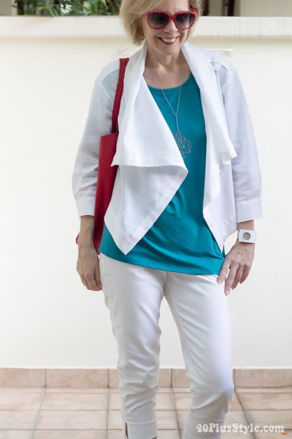 white pants and jacket| 40plusstyle.com