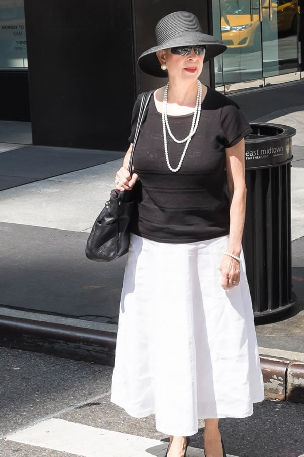 A black and white outfit with a hat | 40plusstyle.com