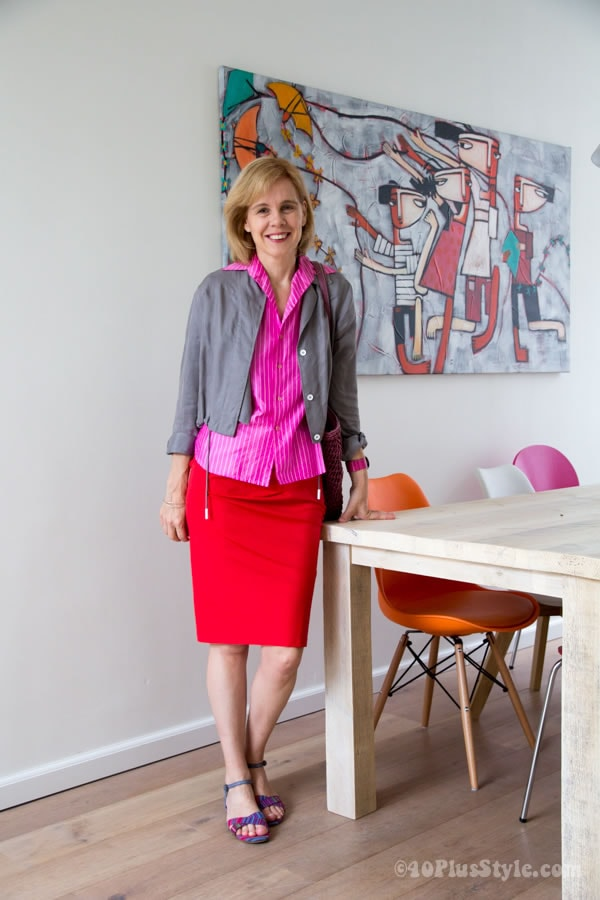 how to combine red - wear it with fuchsia and gray | 40plusstyle.com