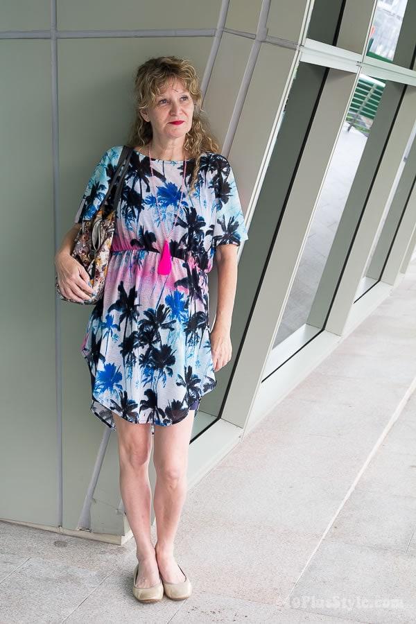 Anja wearing a flower dress   40plusstyle.com