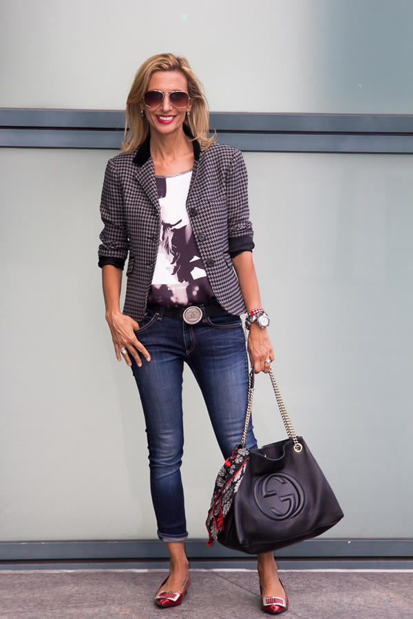 wearing a jacket with jeans | 40plusstyle.com