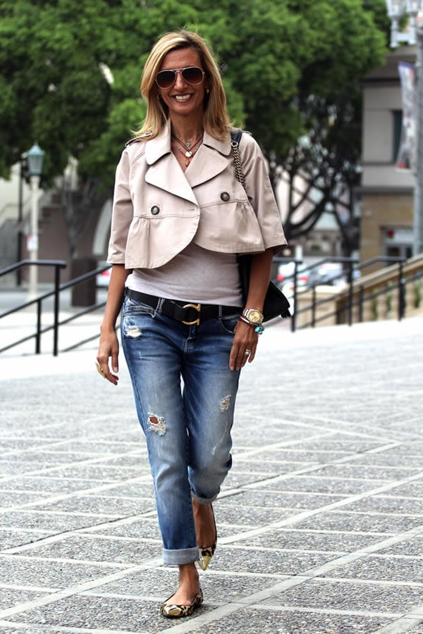 Wearing a short wide cropped jacket   40plusstyle.com
