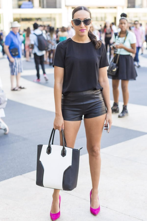 All black with a white leather bag and red shoes | 40plusstyle.com