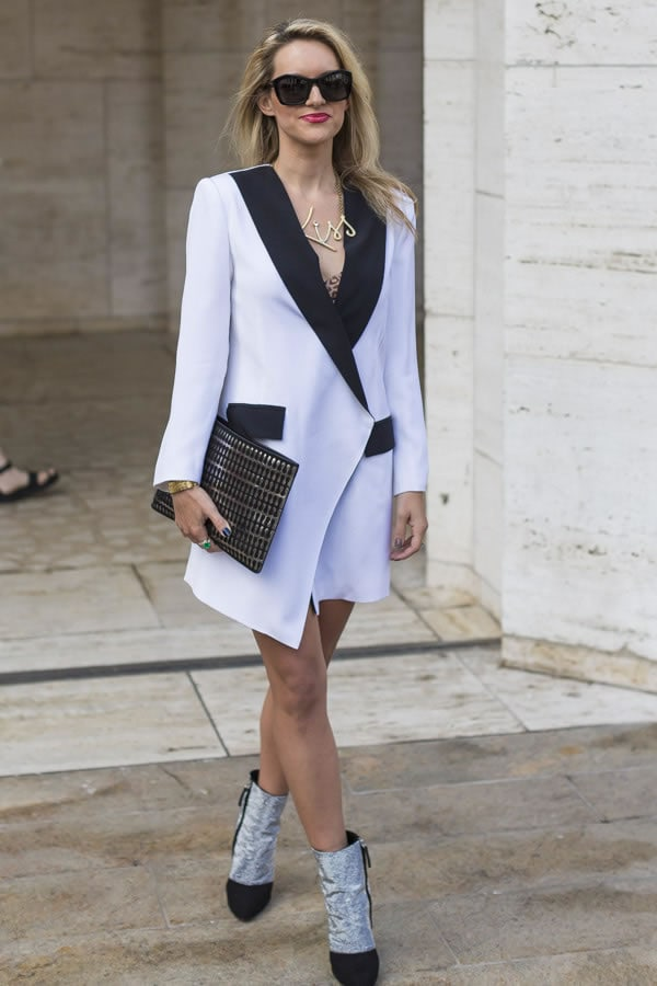 A black and white blazer worn as a dress | 40plusstyle.com