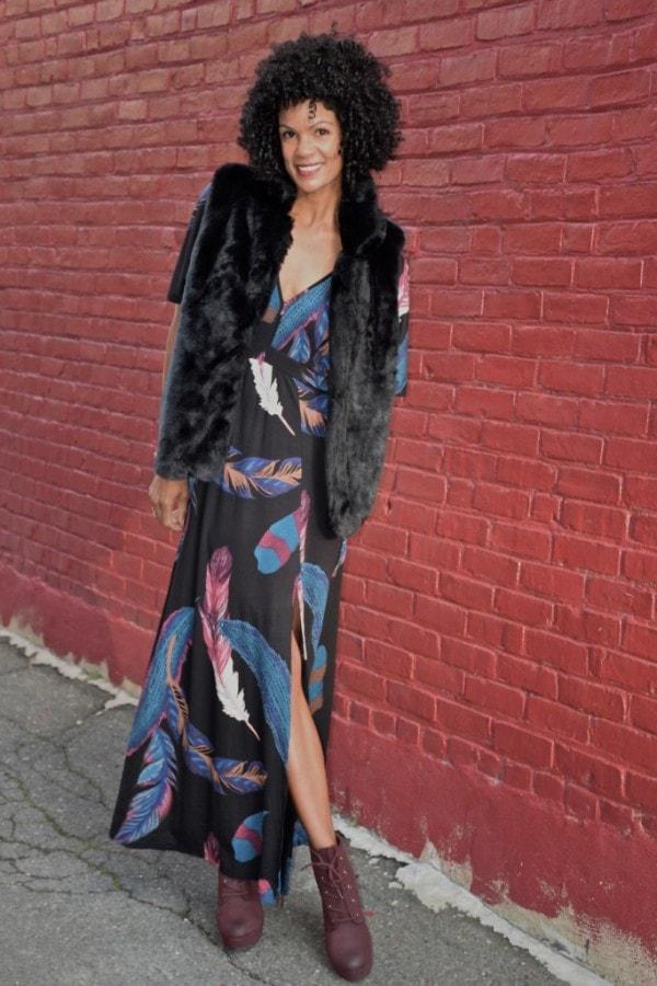 Diana Capozzi Fur Vest Maxi Dress   40plusstyle.com