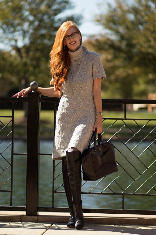 Sweater Dress Over-the-Knee Boots | 40plusstyle.com