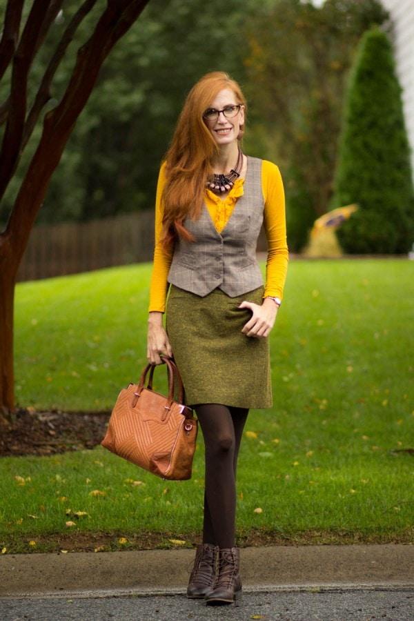Green Skirt Yellow Top Gray Vest | 40plusstyle.com