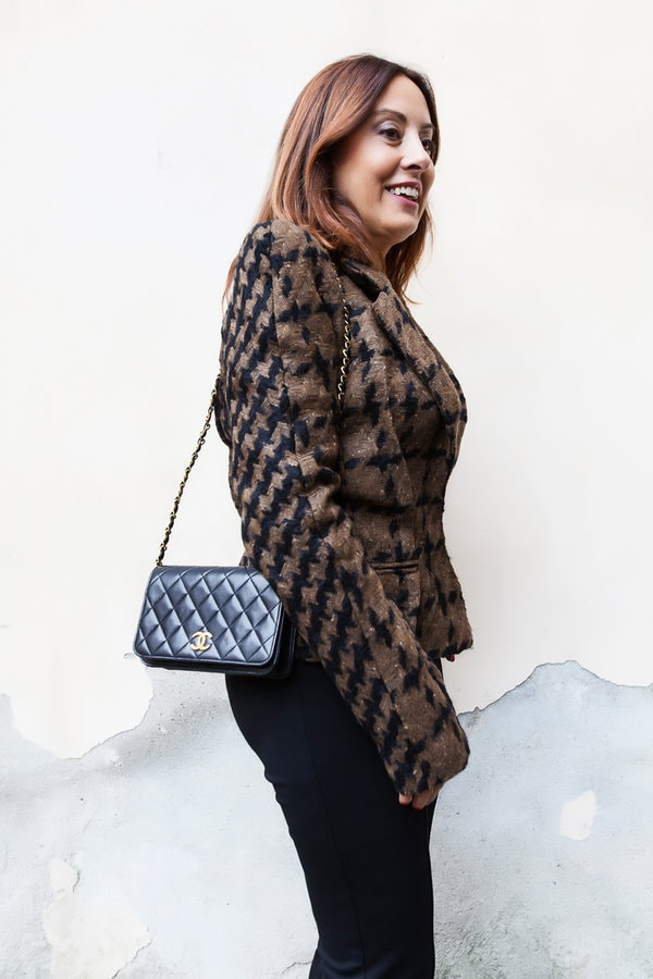 houndstooth inspired jacket | 40plusstyle.com