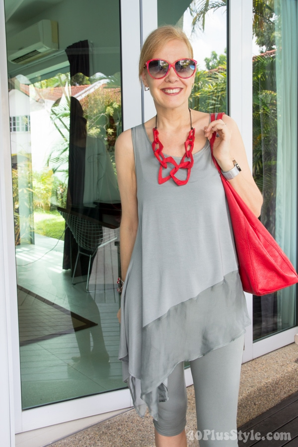 gray and red outfit ideas | 40plusstyle.com
