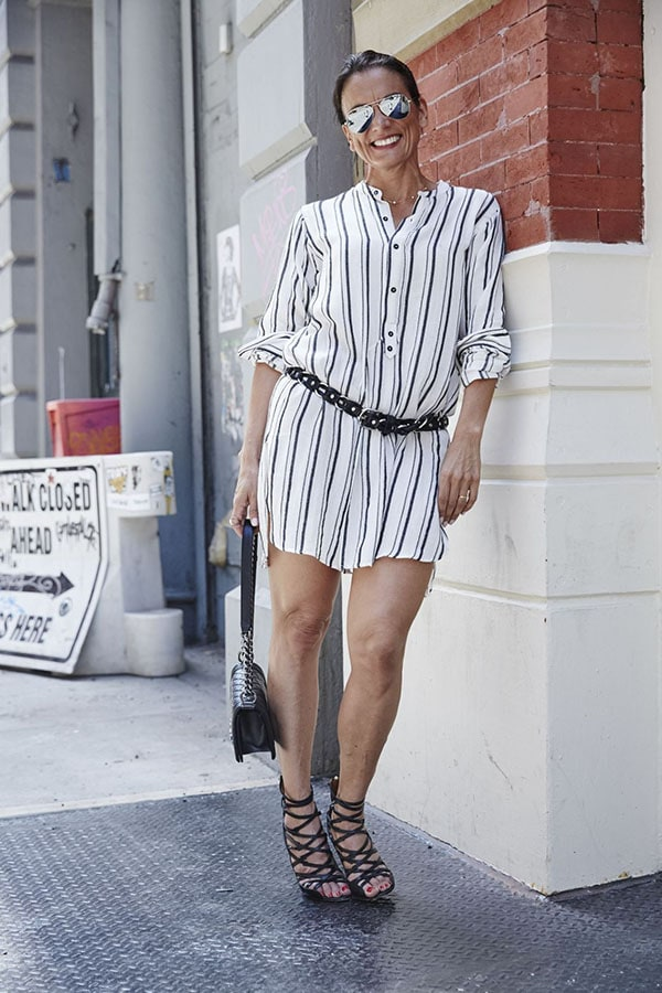 Casual and outfit idea: Striped shirt dress with cage boot heels on the streets of DC | 40plusstyle.com