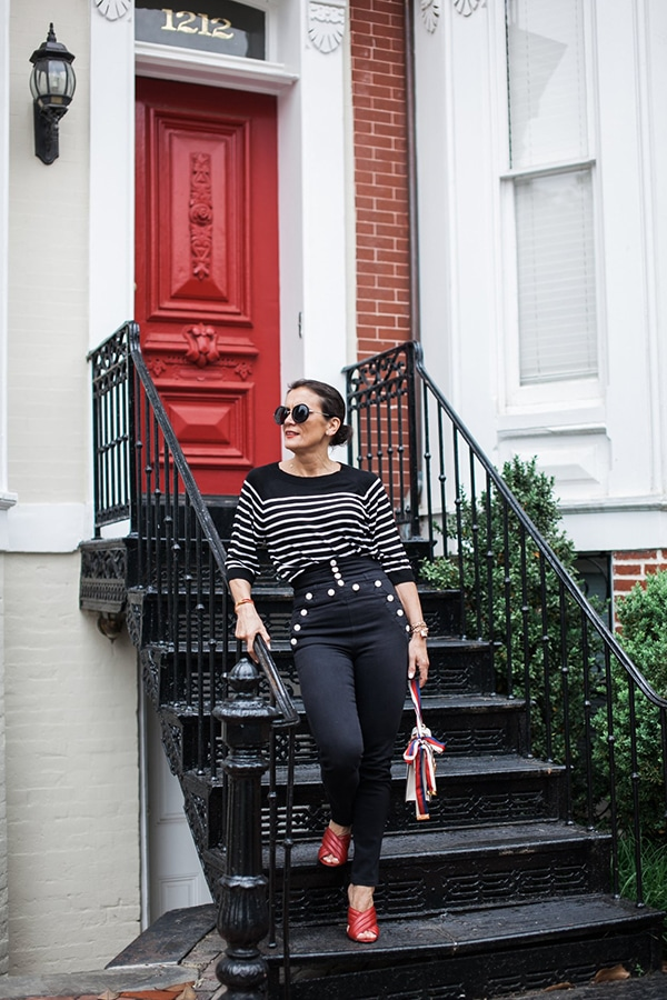 Long weekend and a timeless style outfit idea: French striped top and red heels | 40plusstyle.com