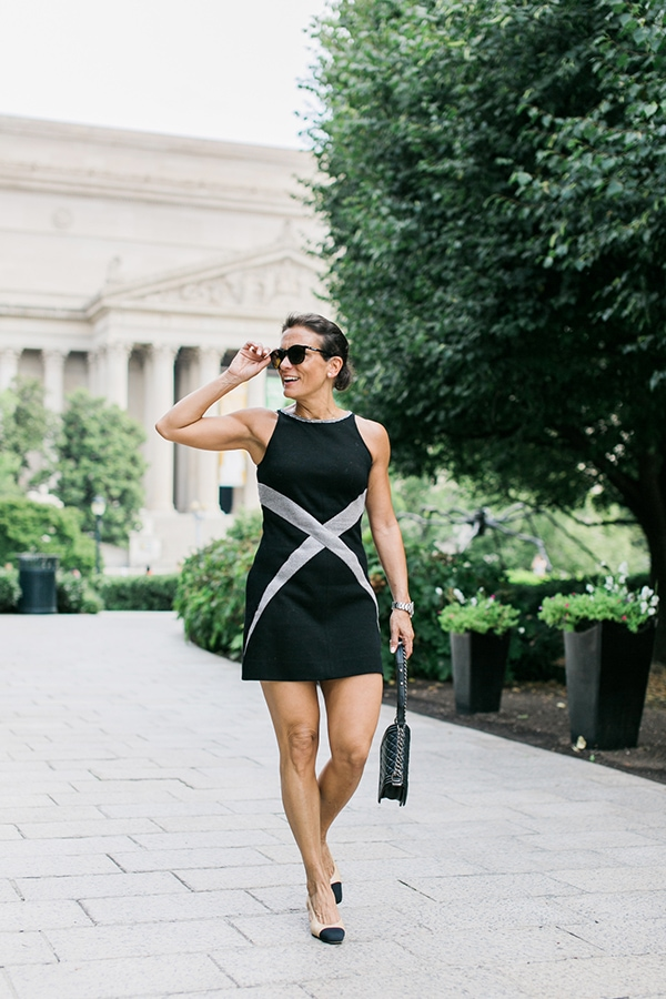 Modern style inspiration: Pair your black dress with nude sling back heels | 40plusstyle.com