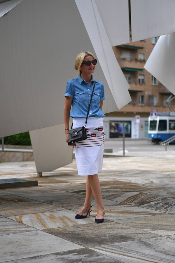 Casual and comfy style: A white pencil skirt with a blue button up blouse | 40plusstyle.com