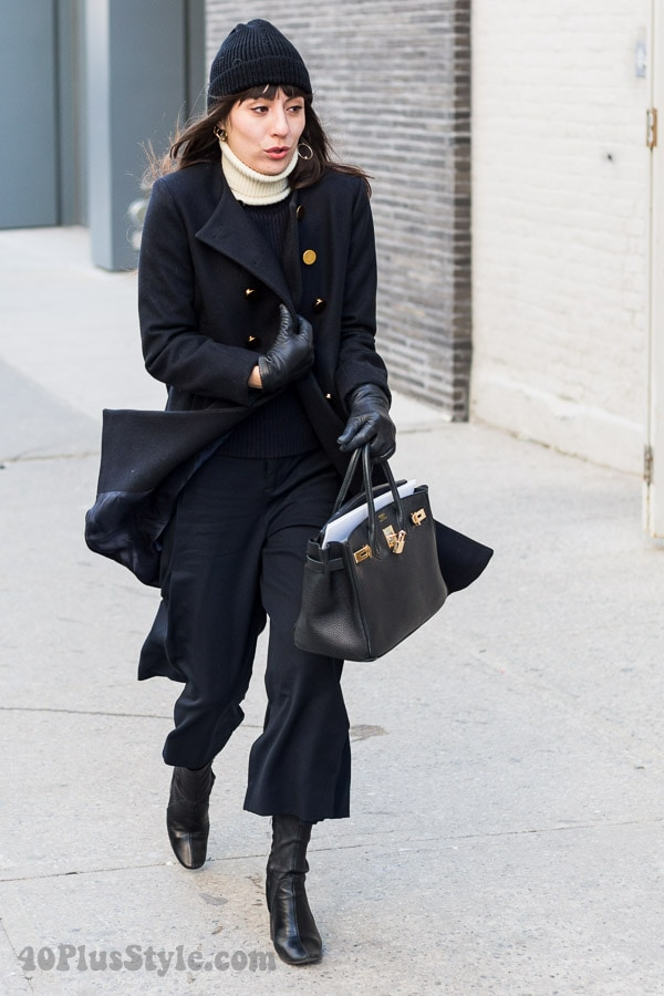 All black winter outfit: Classic black coat | 40plusstyle.com