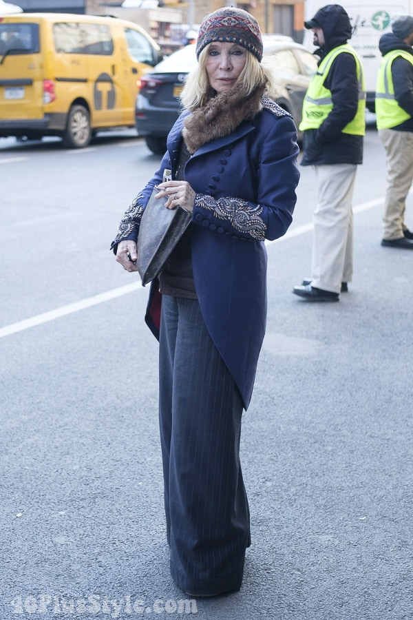 Looking fabulous in a navy suit | 40plusstyle.com