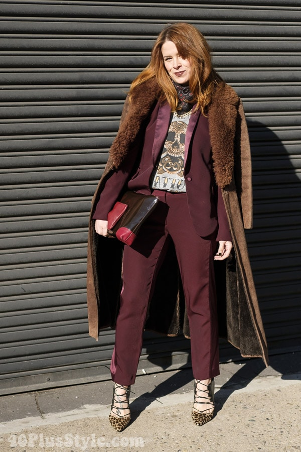 Layers of burgundy and a beautiful print - how to wear red | 40plusstyle.com