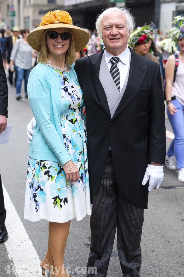 Bright blue and florals at the New York Easter Parade | 40plusstyle.com