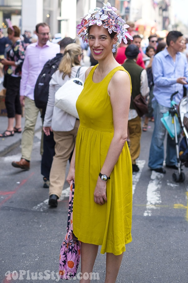 Fun in yellow and paper florals at the New York Easter Parade | 40plusstyle.com