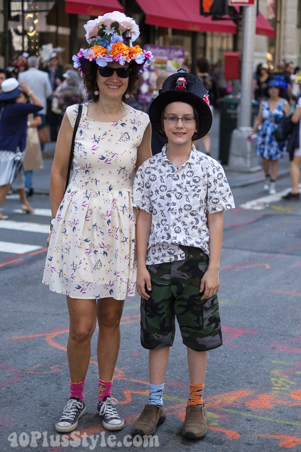 Bold floral hat and a vintage print dress at the New York Easter Parade | 40plusstyle.com