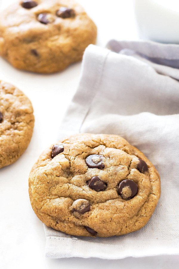 Thick chocolate chip cookie