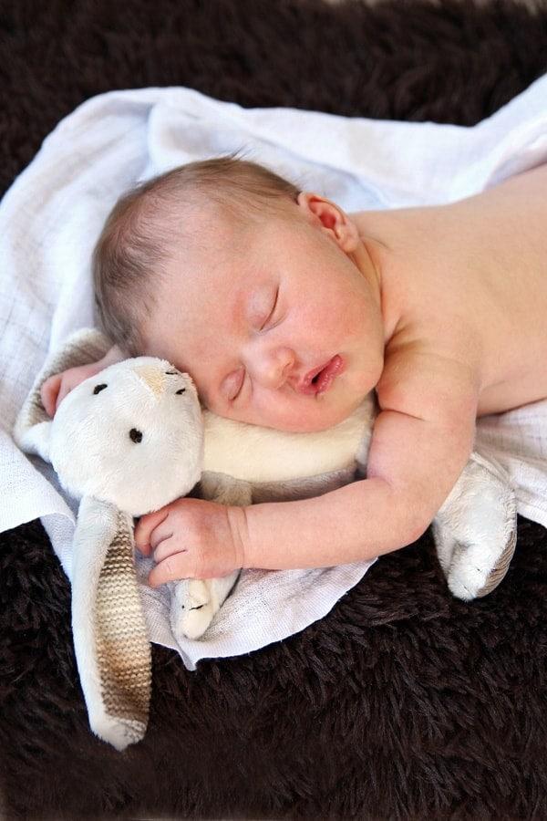 Sleeping Baby with Plush Rabbit