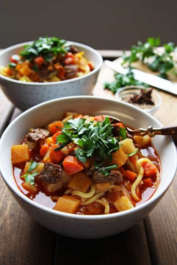 Bowl of Lagman Uzbek Soup