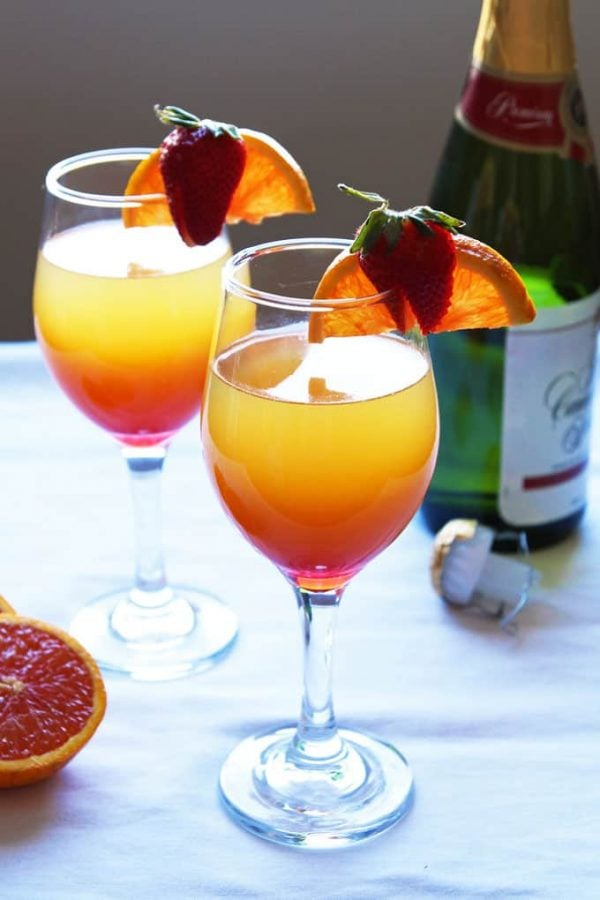 Sunrise Mimosa with Strawberry