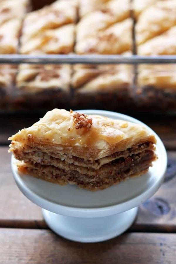 Plated Maple Pecan Baklava