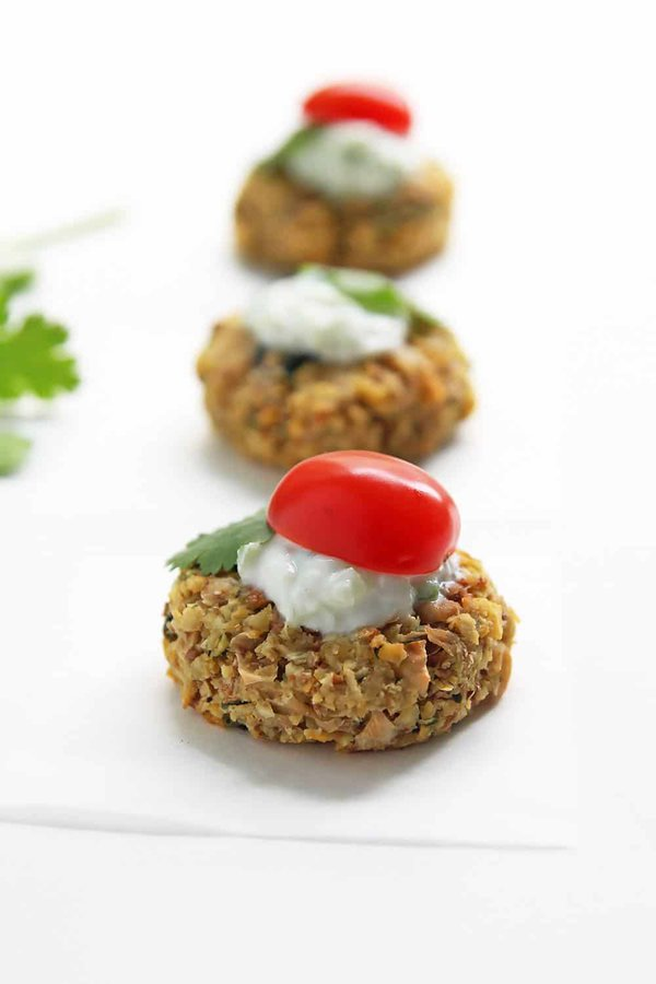 Baked Falafel Appetizer with Tzatziki