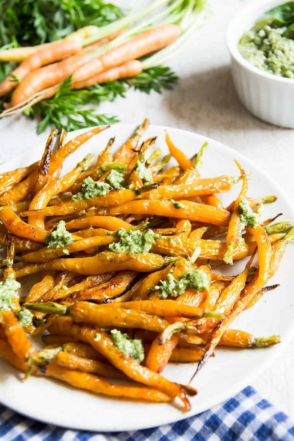 Maple Roasted Carrots with Pesto