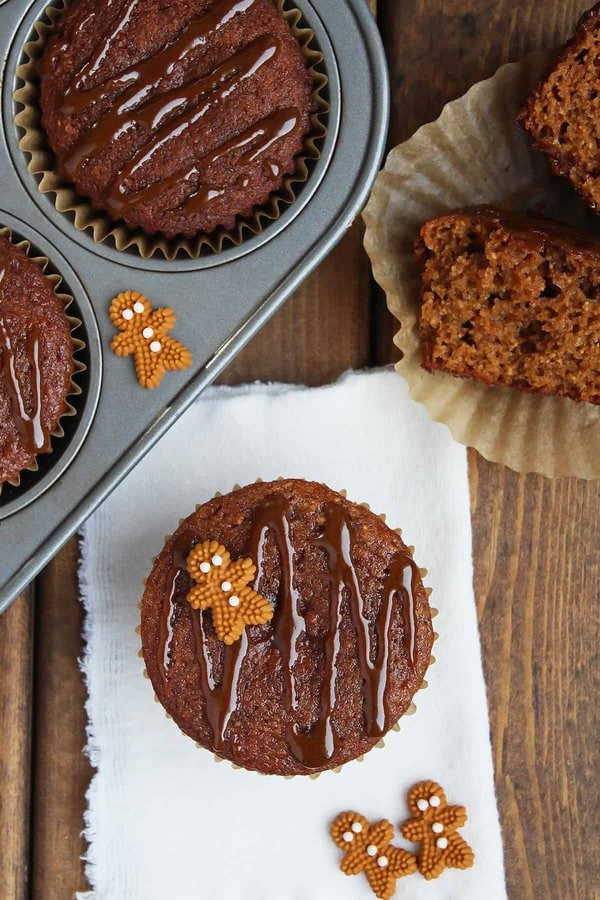 Garnished Healthy Gingerbread Muffins