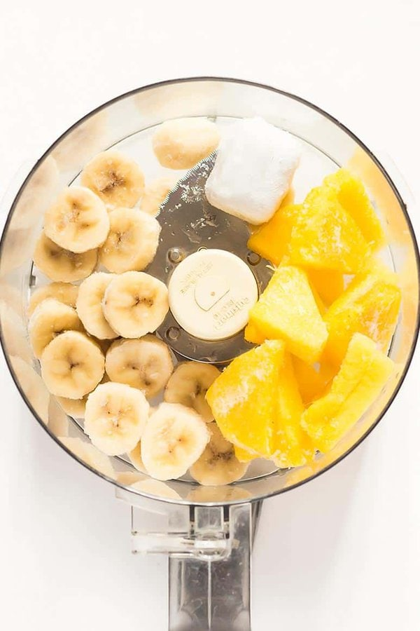 Pineapple and Banana in Food Processor