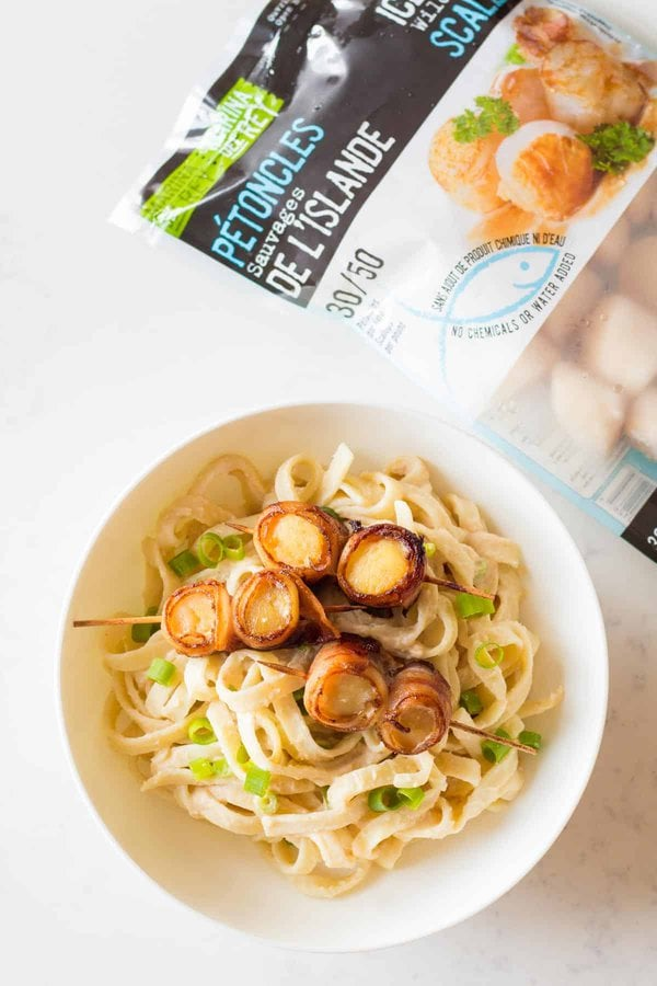 Pasta with Bacon-Wrapped Scallops