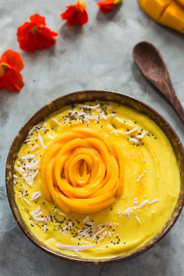 Mango Smoothie Bowl with Mango Rose