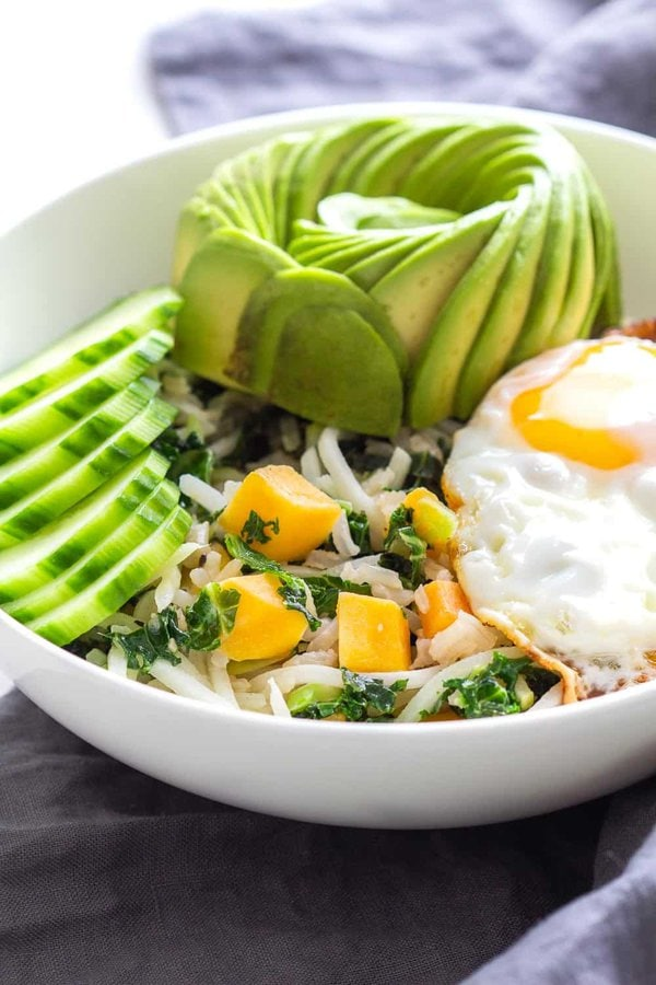 Avocado, Egg, Cucumber Breakfast Bowl
