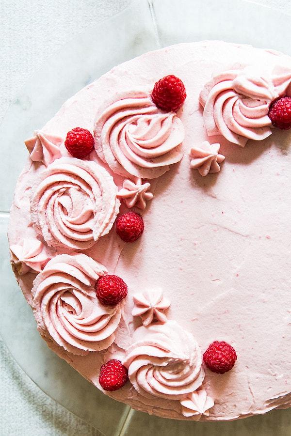 Overhead Vanilla Raspberry Cake