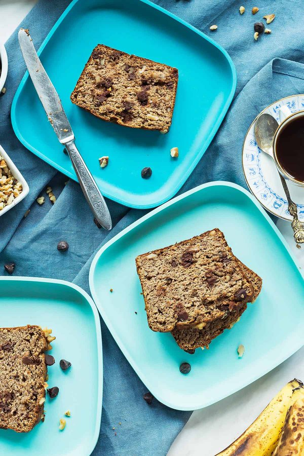 Paleo Banana Bread Slices on Plates