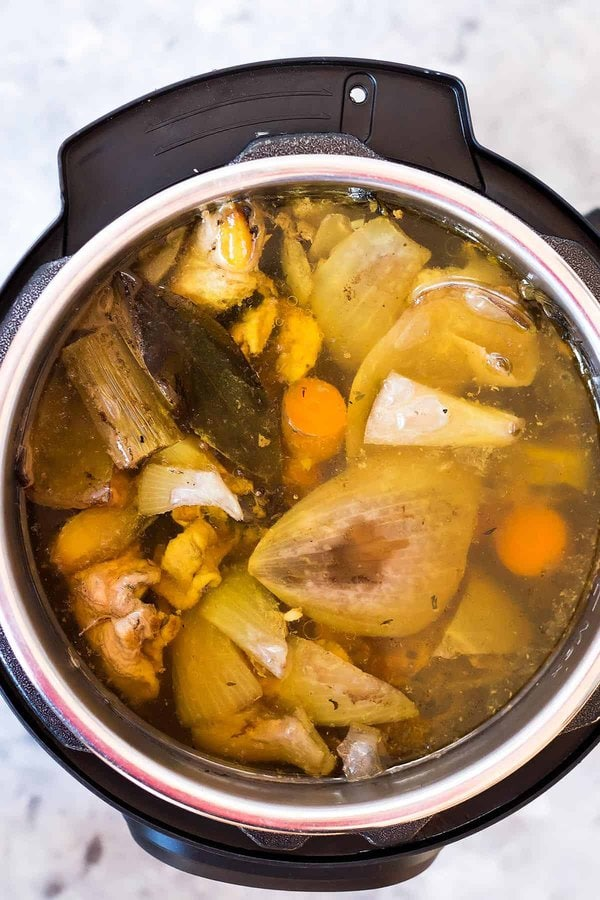 Cooked Bone Broth inside Instant Pot