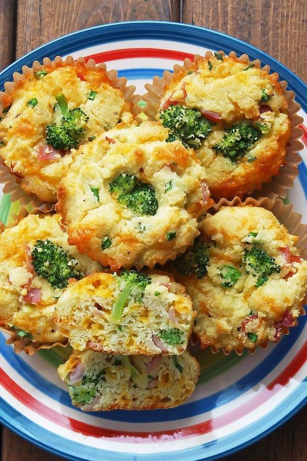 Ham and Cheese Broccoli Muffins