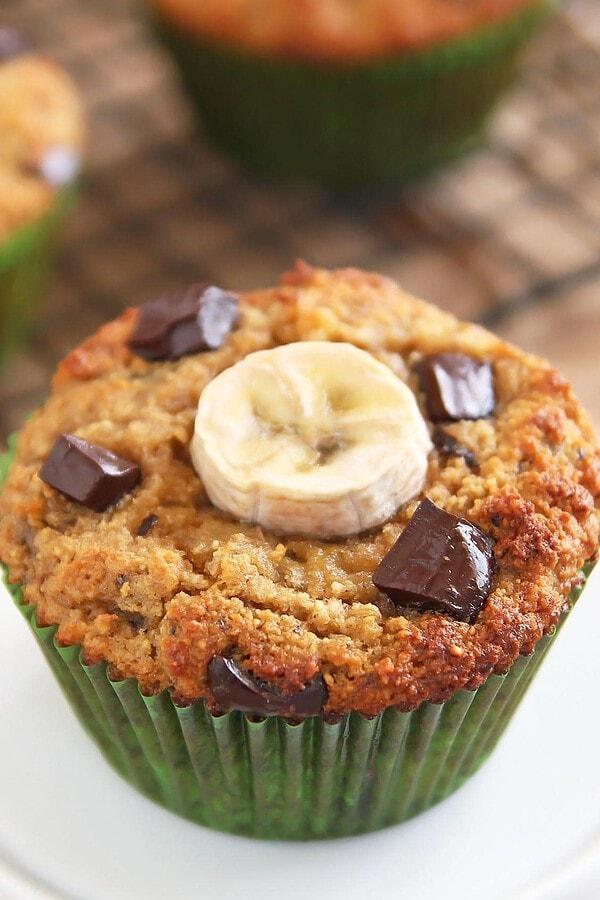 Coconut Flour Chocolate Chip Banana Muffin