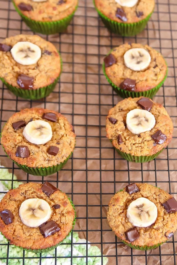 Paleo Banana Muffins cooling on wire rack